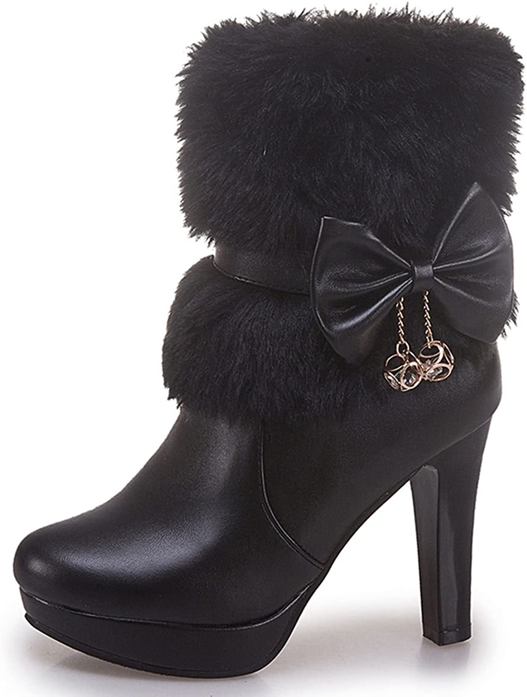 DoraTasia Sexy Faux Fur Bow Tie Metal Pendant Mid Heel Platform Women's Ankle Boots