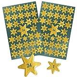 AVERY Zweckform Art. 52809 Aufkleber Weihnachten 66 Sterne (Weihnachtssticker mit Zahlen,  goldene...