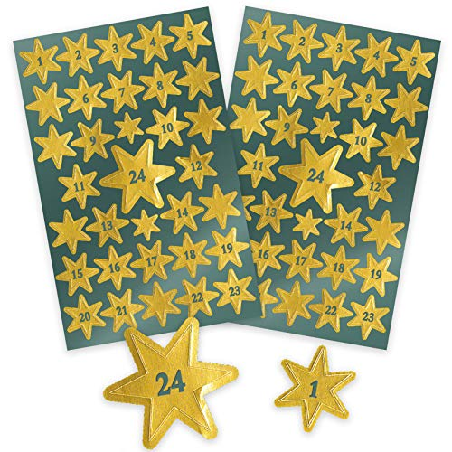 AVERY Zweckform Art. 52809 Aufkleber Weihnachten 66 goldene Sterne (Weihnachtssticker für Adventskalender, Glanzfolie, selbstklebende Weihnachtsdeko mit Zahlen von 1-24, Adventskalenderzahlen, DIY)