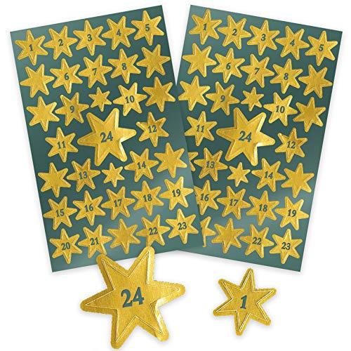 AVERY Zweckform Art. 52809 Aufkleber Weihnachten 66 Sterne (Weihnachtssticker mit Zahlen,  goldene Glanzfolie, selbstklebend, Deko Weihnachten, Adventskalender, Adventskalenderzahlen, DIY)