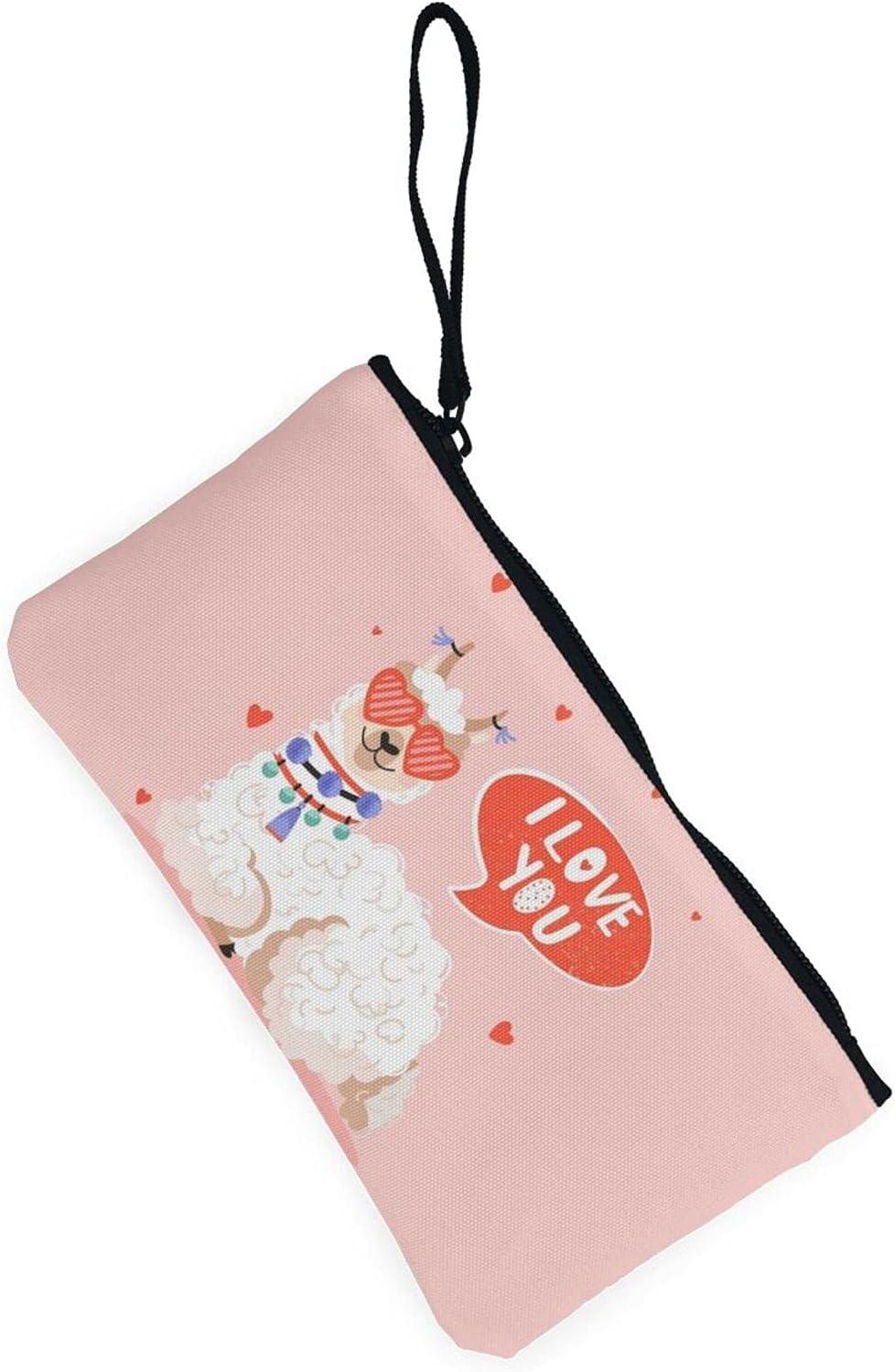 AORRUAM Cartoon Alpaca Heart Canvas Coin Purse,Canvas Zipper Pencil Cases,Canvas Change Purse Pouch Mini Wallet Coin Bag