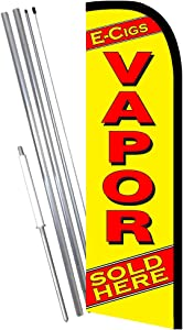 E-CIGS VAPOR SOLD HERE (Yellow/Red) Windless Feather Banner Flag Kit (Flag, Pole, & Ground Mt)