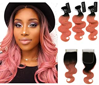 """BQ HAIR 8A Top Quality 1B/Rose Gold Ombre Brazilian Body Wave Two Tone Virgin Human Hair 3 Bundles with 4""""x4'' Free Part Lace Closure (14+20 18 16)"""