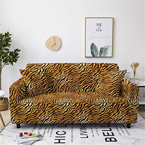 Animal 3D Leopardo Tigre Cebra Funda de Sofá de Poliéster Elástico Reposabrazos Funda de Sofá Antiincrustante Fundas de Sillón Resistentes a Los Arañazos Sofa Cover (Color 9,235-300 cm)