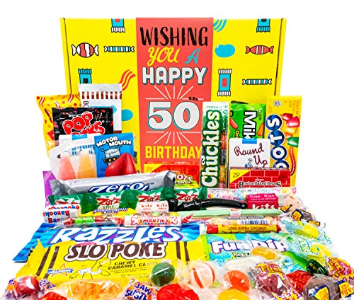 Woodstock Candy - 50th Birthday Gift Basket Box - Milestone Birthday Gift Ideas for Women and Men Turning 50 - Retro Childhood Candy 50th Birthday Gag Gifts for Dad Mom - Party Table Centerpiece