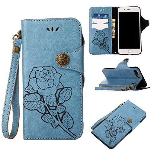 Black Sales Friday Deals iPhone 6s Plus Leater Wallet Case,Valentoria 2 in 1 Vintage Flower Book in Italian Style 3 Card Holder Cash Slot Kickstand Slim Lightweight Case(Blue)