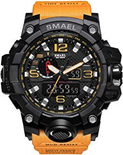 SMAEL Boy's Military Watch, Big Face Sports Watch Army Style Multifunctional Wrist Watch for Youth - orange