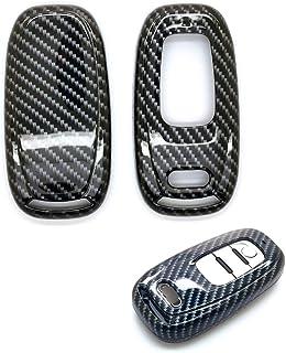 carmonmon Smart Remote Keyless Entry Paint Color Shell Key Case Cover Fit for Audi A4L A6L Q5 A5 A7 A8 S5 S7 (Carbon Gloss Fiber)
