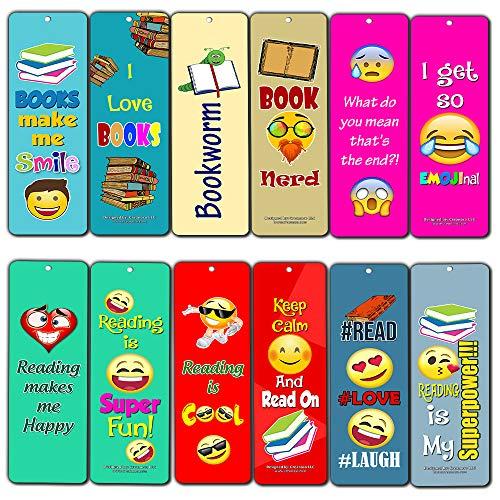 Creanoso Emoji Bladwijzers voor Bookworm (12-Pack) - Premium Gift Set - Inspirerend Word Gezegden Quotes voor mannen, vrouwen, volwassenen, tieners, kinderen - Zes Bulk Diverse Bookmarks Designs