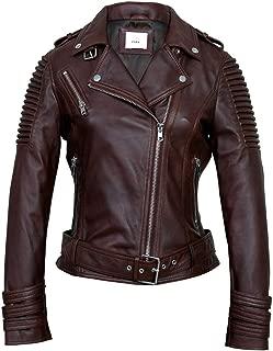M&A Hub Women's Fashion Vintage Biker Negan Brown Leather Jacket