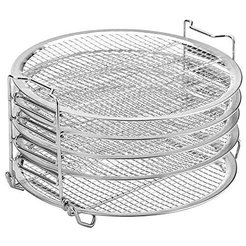 Dehydratorstandaard, stapelbare accessoires voor barbecueroosters, luchtfriteuse, roestvrij staal van voedingskwaliteit met siliconen ovenwanten, snelkookpan met schone borstel en heteluchtfriteuse