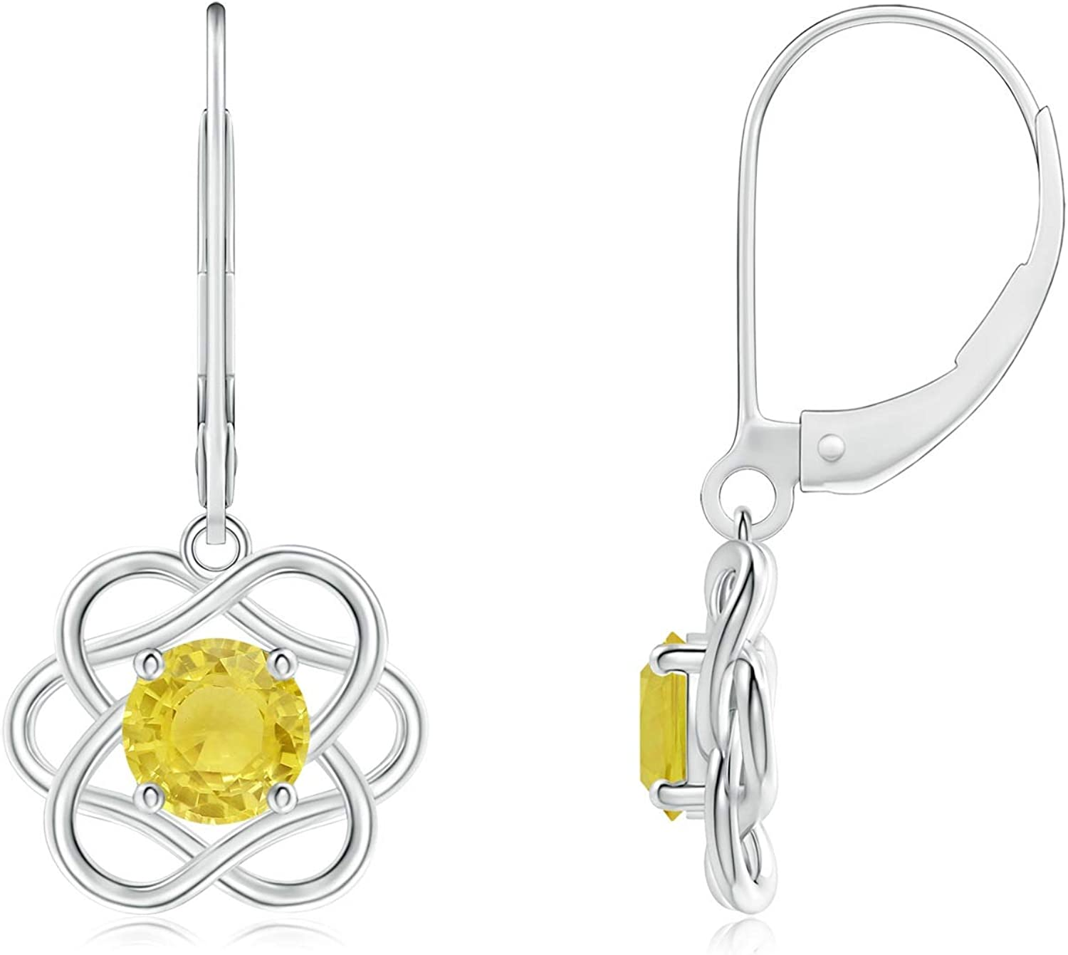 Solitaire Yellow Sapphire Intertwined Flower Overseas parallel import regular item 5m Dangle Max 78% OFF Earrings