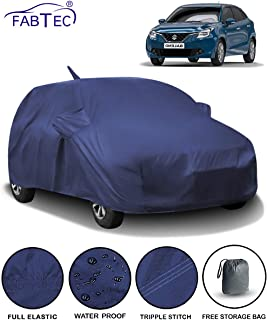 Fabtec Waterproof Car Body Cover for Maruti Baleno (2015-2019) with Mirror & Antenna Pocket & Storage Bag (Full Sized, Triple Stitched, Fully Elastic) (Navy Blue)