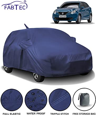 Fabtec Waterproof Car Body Cover for Maruti Baleno (2015-2019) with Mirror & Antenna Pocket & Storage Bag (Full Sized, Triple Stitched, Fully Elastic)