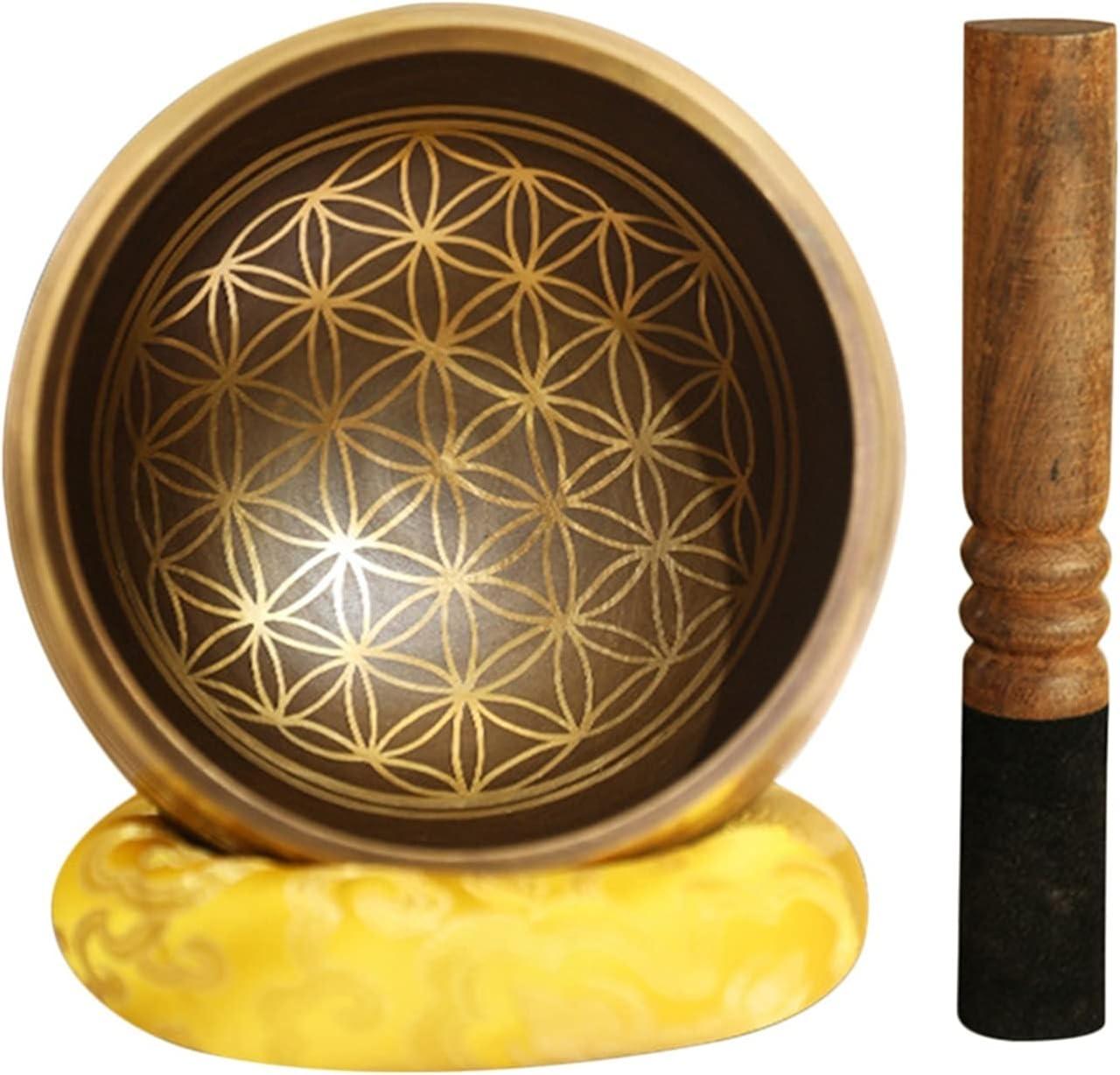 WPJ Cuencos Tibetanos Cuenco de Sonido de meditación para Zen Chakra Decor Accesorios de Yoga, con cojín de Seda mazo Cantaje Cuenco meditación Sonido Cuenco Instrumento de curación Regalo