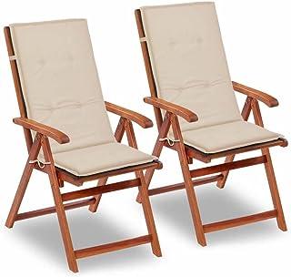 Tidyard Sillas Plegables de jardín Cojines para sillas de jardín 2 Unidades Crema 120x50x3 cm