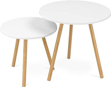 Homfa Tables Gigognes Scandinaves Lot de 2 Tables Basses Blanche de Café (Rond)