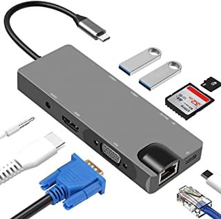 Portable Docking Station,Multi-function hub 4K HD HDMI USB hub nine-in-one type-c docking station HDMI+VGA+PD+SD+USB3.0+RJ...