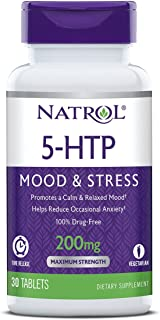 Natrol 5-HTP Time Release tablets, Promotes a Calm Relaxed Mood, Helps Maintain a Positive Outlook, Enables Production of Serotonin, Drug-Free, Controlled Release, Maximum Strength, 200mg, 30 Count