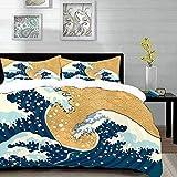 Bedding Juego de Funda de Edredón,Microfibra -Ola japonesa, tormenta de mar en Japón Dibujo tradicional Espumoso G - Funda de Nórdico y Fundas de Almohada - (Cama 220 x 240cm + Almohada 63X63cm)