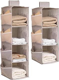 DSTong Organiseur de penderie à suspendre 4 + 3 étagères en tissu Oxford pliable avec poches latérales pour rangement pour...