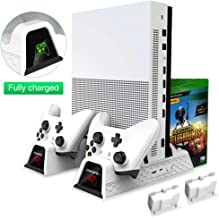 OIVO Vertical Cooling Stand Compatible with Xbox ONE X/Xbox ONE S/Regular Xbox ONE, Cooler Cooling Fan with 2PACK 600mAh Batteries, Games Storage, Dual Controller Charging Dock Station (X0011-White)