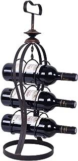WELLAND Metal Wine Rack Floor Stand Storage Cabinets, Pub Bar Tabletop liquor Holds 3 Bottles Holder