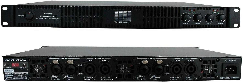 shop MUSYSIC MU-D9600 Professional 4-Channels 1U 2x9600 Watts Sale item D-Class