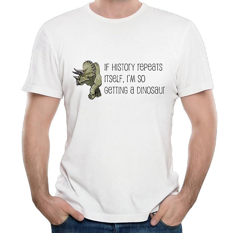 SmallHan Mens History Repeats Dinosaur Leisure Travel White T Shirts Short Sleeve