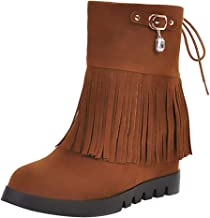 Kauneus Womens Exquisite Rhinestone Pendant Tassel Mid Tube Boots Suede Hidden Wedges Back Lace Up Mid Calf Boots