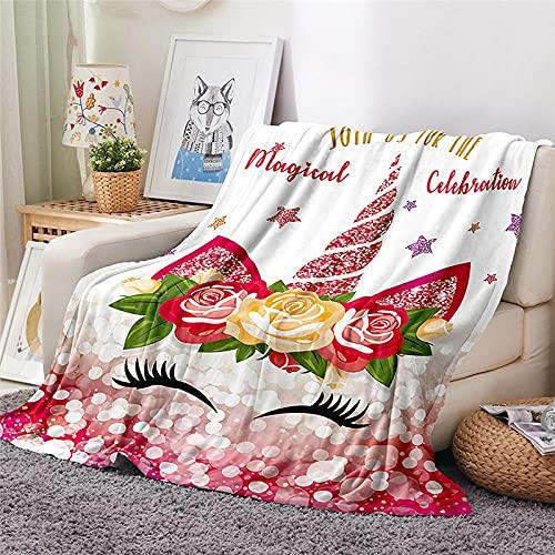 Mantas para Sofa Batamanta Mujer de Franela y Sherpa Manta Bebe Sofa Mantas con Estampados para la Cama y el Sofá 150x200 cm Unicornio