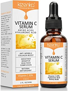 comprar comparacion kizenka Suero de vitamina C con ácido hialurónico, suero antiarrugas para la cara de arrugas, removedor de hidratación y a...