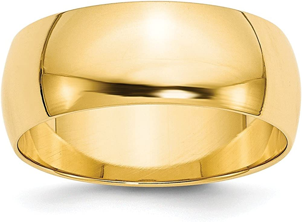 Solid 14k Yellow Gold 8mm Half Round Wedding Band