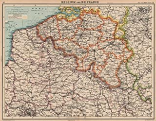 BELGIUM & NORTH EAST FRANCE. Nord Pas-de-Calais. Picardy. BARTHOLOMEW - 1924 - old map - antique map - vintage map - printed maps of Belgium