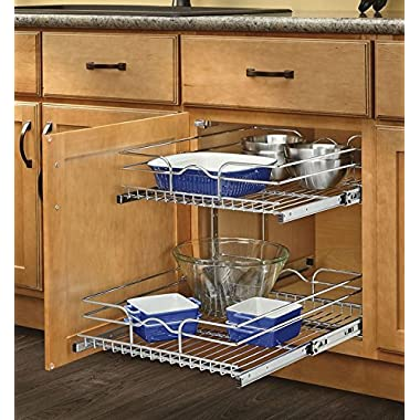 Rev-A-Shelf 5WB2-2122-CR - 21 in. W x 22 in. D Base Cabinet Pull-Out Chrome 2-Tier Wire Basket