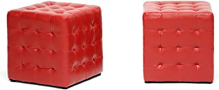 Baxton Studio Siskal Modern Cube Ottoman, Red, Set of 2