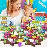 specool Blumengarten Gebäude Spielzeug, Block Blumenarrangement Spielset, Kreatives pädagogisches Spiel Rollenspiel, Kunsthandwerk für Mädchen, Weihnachtsgeburtstagsgeschenke für 3-7 jährige Kinder
