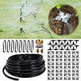 HIRALIY 65.6FT/20M Plant Watering System, 8x5mm Blank Distribution Tubing and 4-outlets Misting nozzles, Automatic Irrigation Equipment Set for Patio Lawn Garden Greenhouse Flower Bed