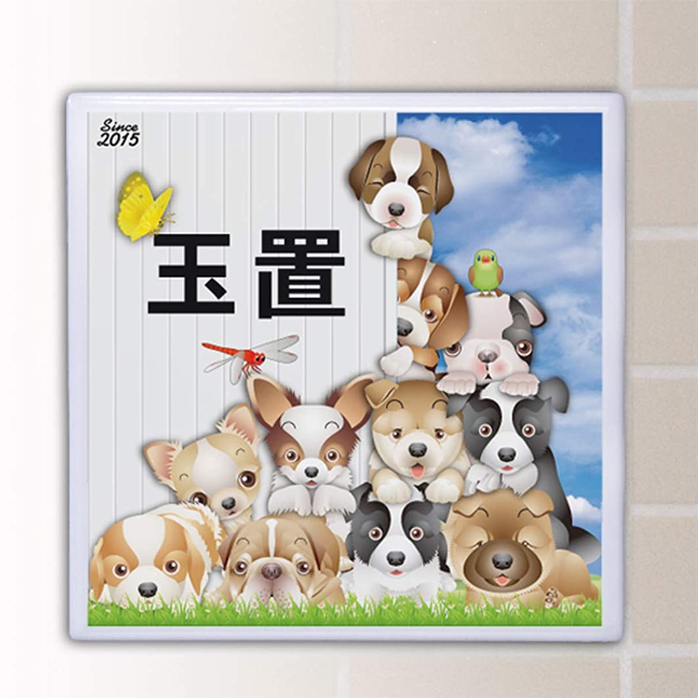 おじいちゃん衛星カニ表札 タイル 高温焼成で色落ちしません オーダーメイド表札 犬猫合わせて51種類から。18x18cm 接着剤付 送料無料