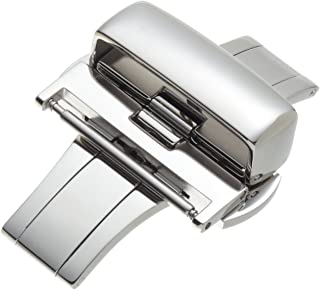Hadley-Roma Men's BKL100W-14MM Stainless Steel Deployant Buckle SS Watchband
