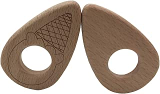 Amyster 2pcs Baby Teether Cone Pendant Baby DIY Jewelry Pendants Necklace Bracelets Accessories BPA Free Pacifier Wooden Ice Cream Teether (2pcs)