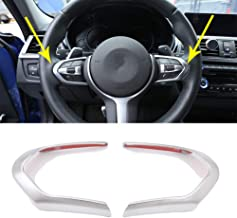 Car Steering Wheel Decoration Frame Accessories Cover Trim Carbon Fiber Style For BMW F20 F22 F21 F30 F32 F33 F36 F06 F12 F13 X5 F15 X6 F16 M-Sport ABS Chrome (Silver)