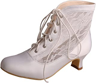 Wedopus MG7004 Women's Round Toe Lace-up Boots Low Heel Lace Satin Western Wedding Bride Boots