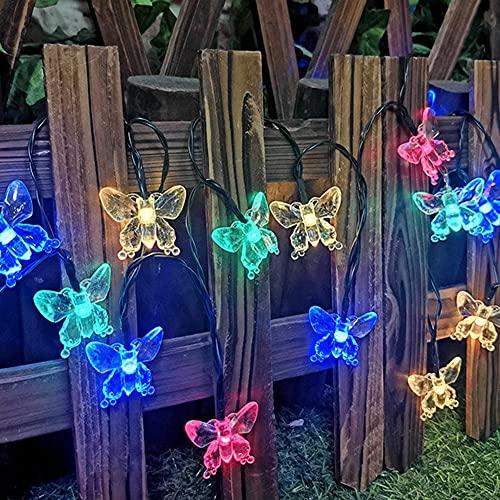 Guirnalda de luces solares con forma de mariposa, 20/30 LED, funciona con energía solar, multicolor, lámpara de luz nocturna, fibra de vidrio, cadena de luces de hada, para exterior, jardín, terraza