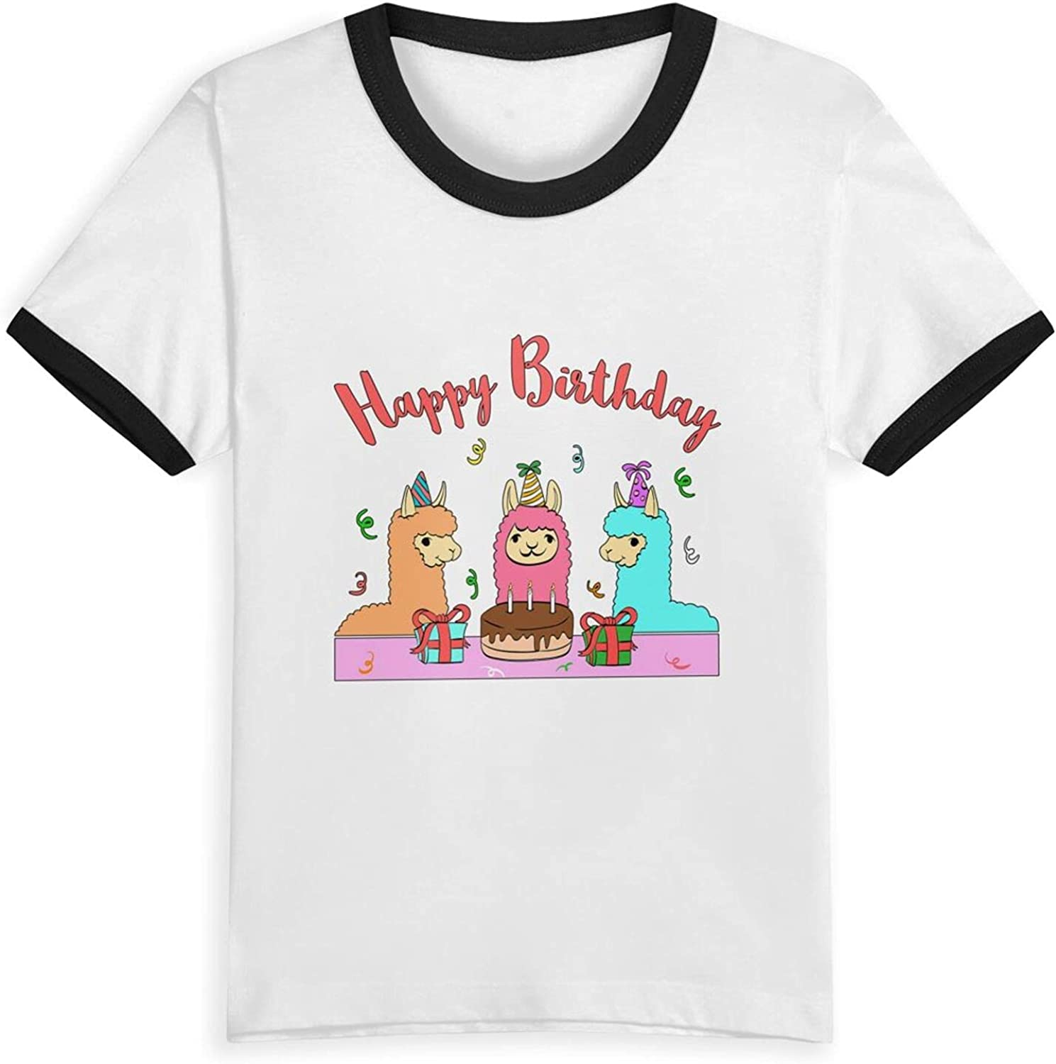 Llama Celebrating Birthday T-Shirts Novelty for Kids Tees with Cool Designs