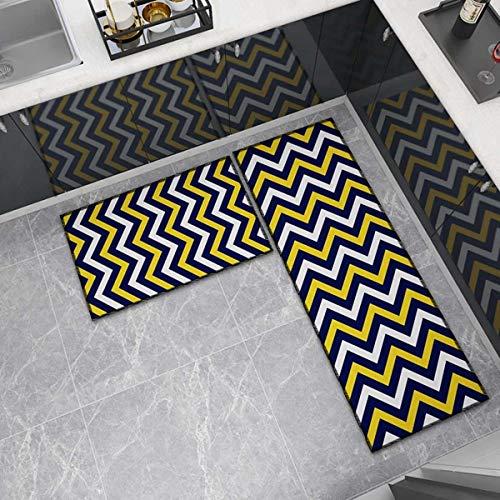 OPLJ Küchenmatte Anti-Rutsch-Türmatte Modernes Wohnzimmer Balkon Badezimmer Geometrisch bedruckter Teppich Waschbare Fußmatte A12 60x180cm