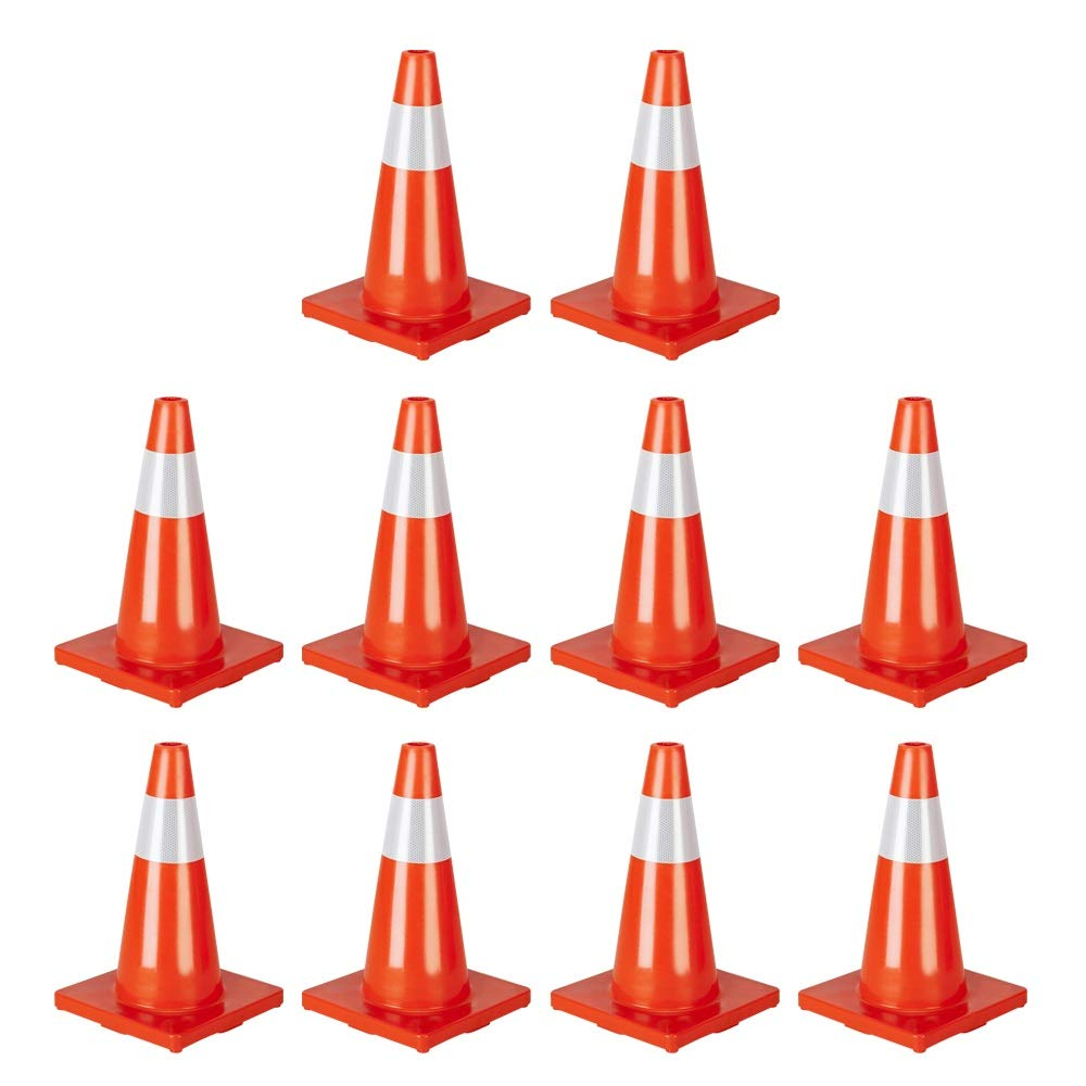 Binrrio Year-end gift Arlington Mall 10 Pack Traffic Cones Fluores Orange 18'' Slim