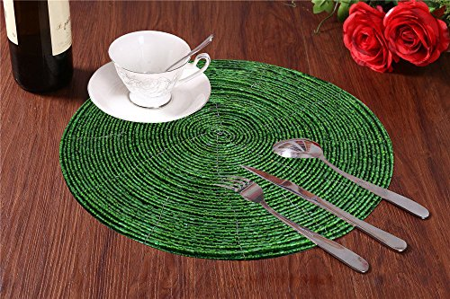 perline tovaglietta verde tondo per tavolo da pranzo - a mano in vetro di perline tovaglietta etnica - dia 30 cm