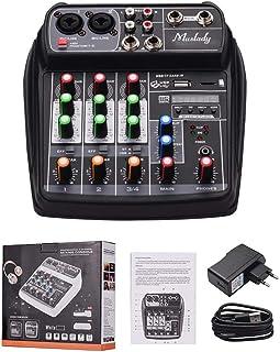 MZGA Muslady Mixer BT MP3 USB Input +48V Phantom Power for Music Recording (Color : Black EU Plug)