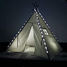 Clevr 6' Kids White Teepee Play Tent House w/Cool White LED Light Strips & 100% Cotton Ready-to-Paint Canvas, Great for Indoors & Outdoors